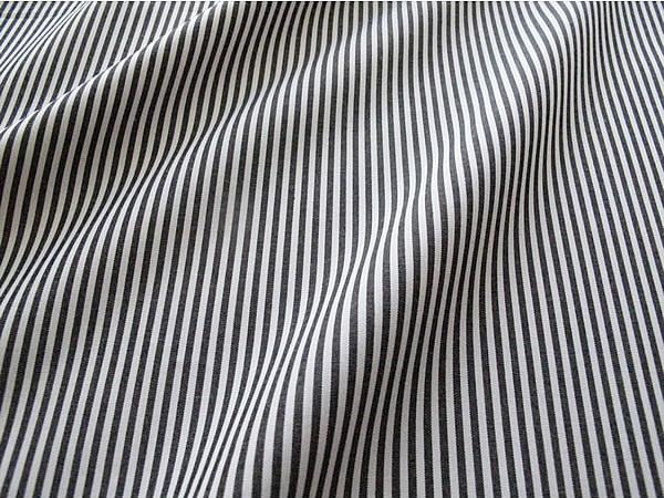 画像1: 播州織 キャンディストライプ 0.2cm ブラック×ホワイト