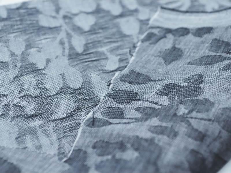 画像1: 播州織 クラッシュジャカード ブラック