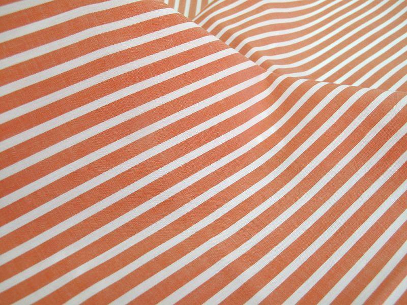 画像1: 播州織 オレンジストライプ ポプリン