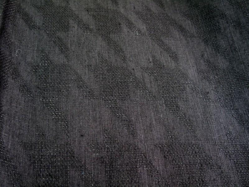 画像1: 麻100% ジャカード ブラック