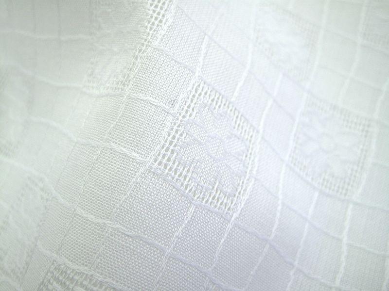 画像1: 播州織 ジャカード M ホワイト 丸い花柄
