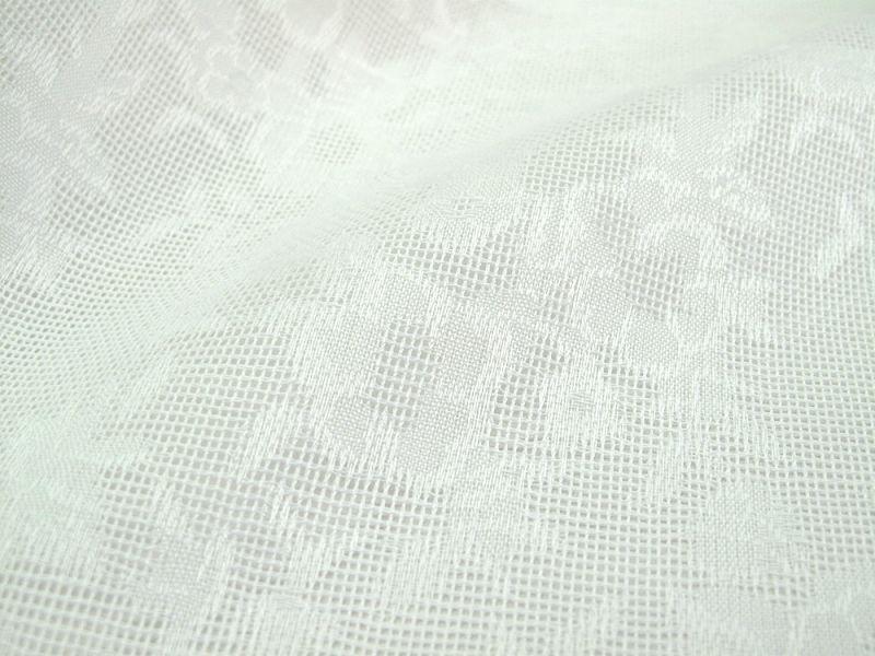 画像1: 播州織 ジャカードホワイト P 草花