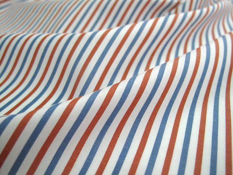 画像1: 播州織 ポプリン ブルー×レッド