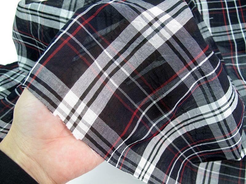 画像1: 播州織  ボイル キャッチワッシャー ブラック