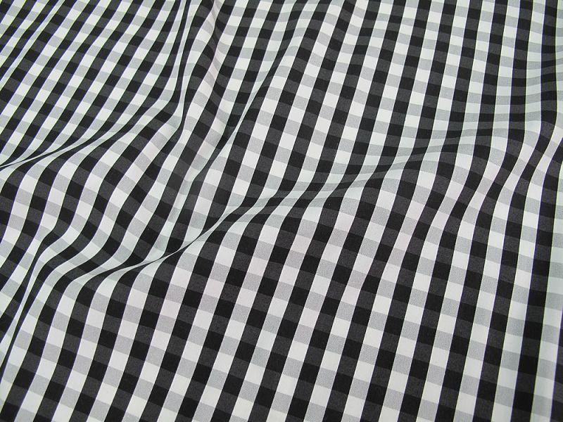 画像1: 播州織 ストレッチ ナイロン混 ブラック×ホワイト 広幅