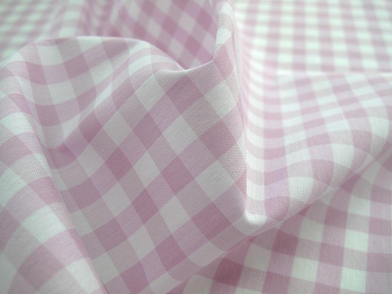 画像1: 播州織 ストレッチ ギンガムチェック0.5cm ピンク