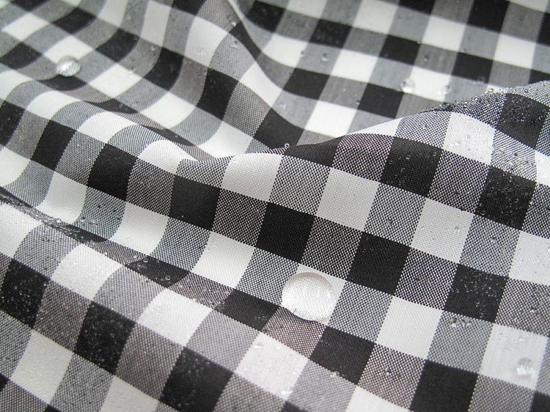 画像1: 播州織 撥水加工 ギンガムチェック0.8cm 白×黒
