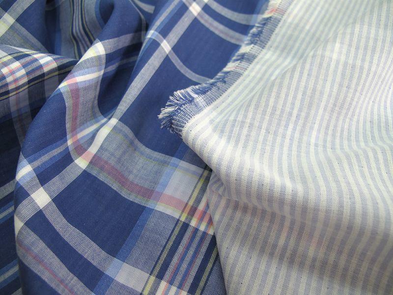 画像1: 播州織 二重織/ダブルガーゼ ブルー