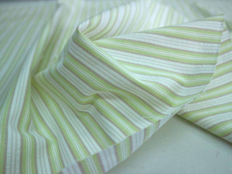 画像1: 播州織 サッカー 黄緑×淡茶
